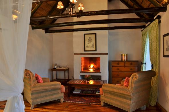 Cozy fireplace at the Dassie Suite in De Hoop Nature Reserve.