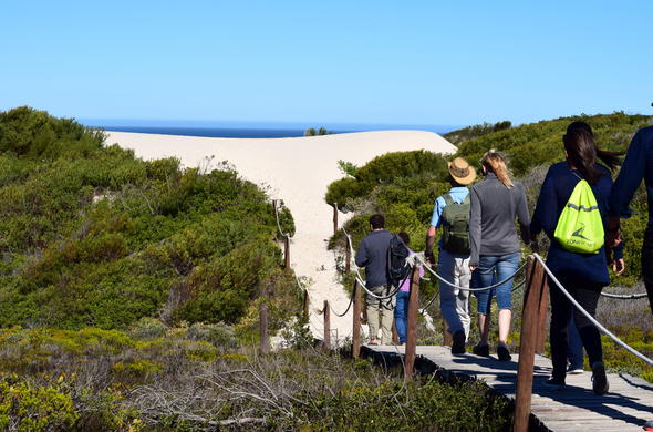Embarking on a guided Marine Walk at De Hoop Nature Reserve.
