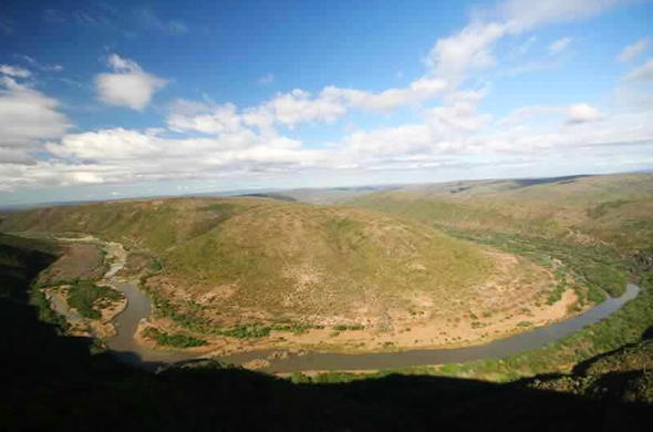 An aerial view of the Great Fish River.