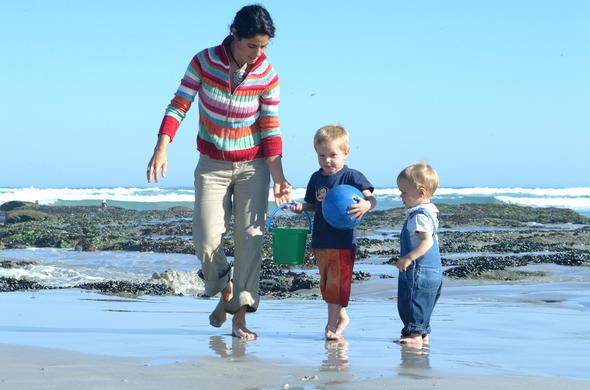 Family beach fun at Grootbos Private Nature Reserve.