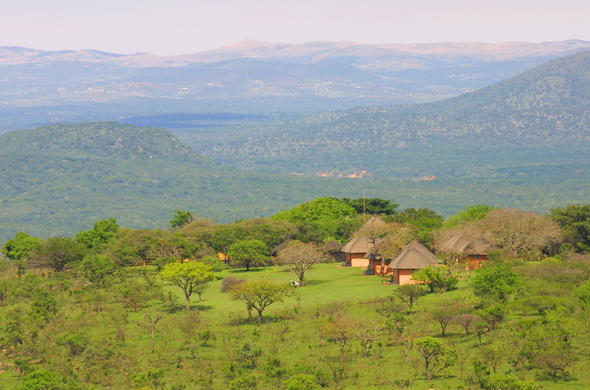 An aerial view of Mpila Camp in Imfolozi Game Reserve.