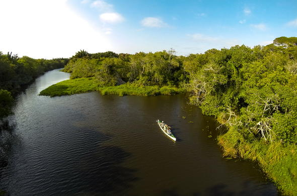 Explore Kosi Bay in iSimangaliso Wetland Park by canoe.