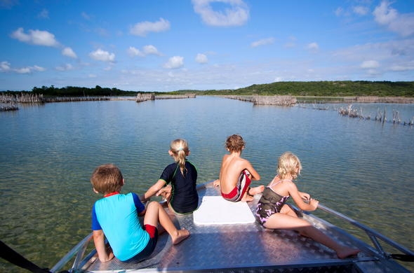 Kids on a boat safari.