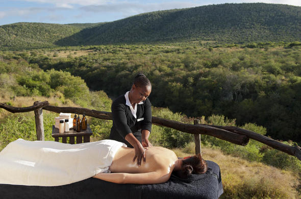 Enjoy a soothing massage at Kwandwe Private Game Reserve.
