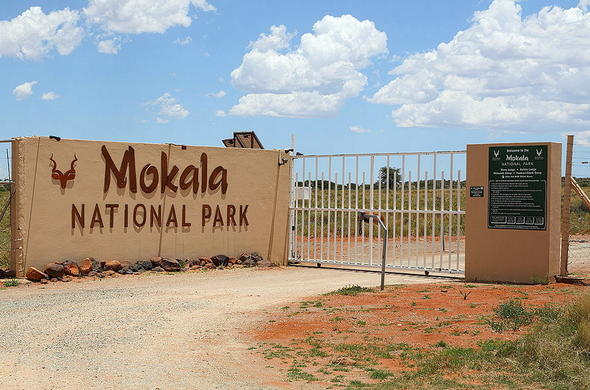 Entrance sign of Mokala National Park.