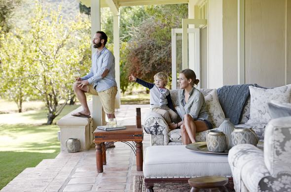 Family relaxing on the Mount Camdeboo Manor terrace.