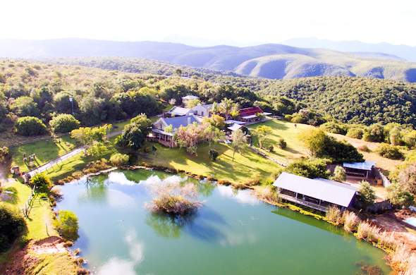 Aerial view of Baroness Lodge in Plettenberg Bay Game Reserve.