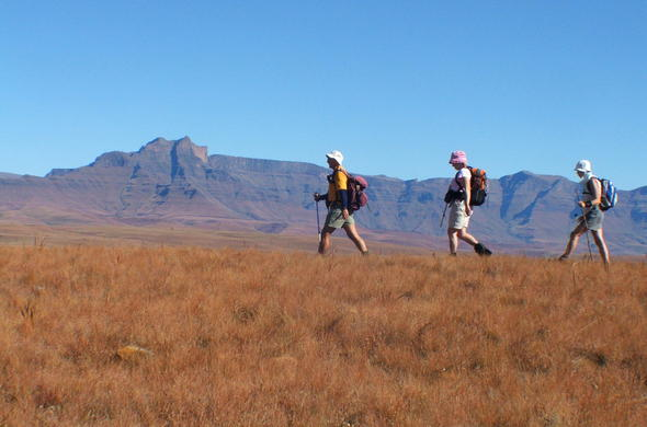 Guests hiking in Royal Natal National Park.