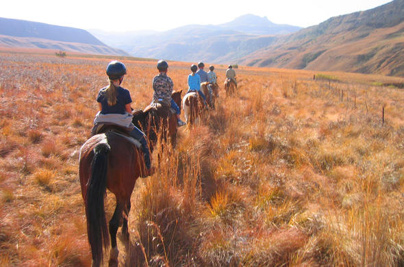 Horseriding in Royal Natal National Park.
