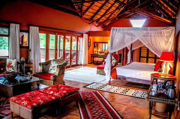 Spacious safari accommodation is offered at Elephant Safari Lodge.