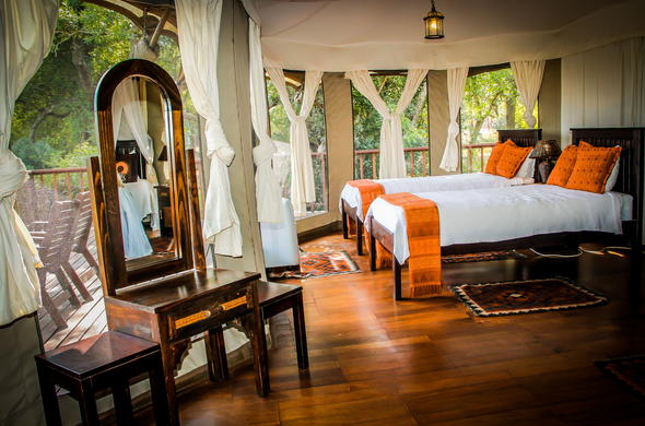 Twin bedrooms at Tented Camp.