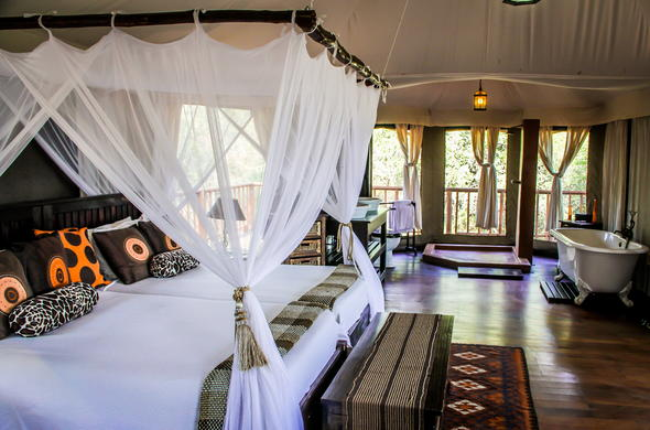 The tented room at Thula Thula Tented Camp.