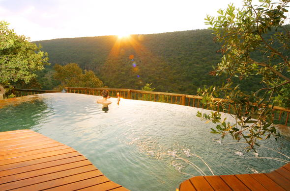 Sunset views from the pool in Welgevonden Private Game Reserve.
