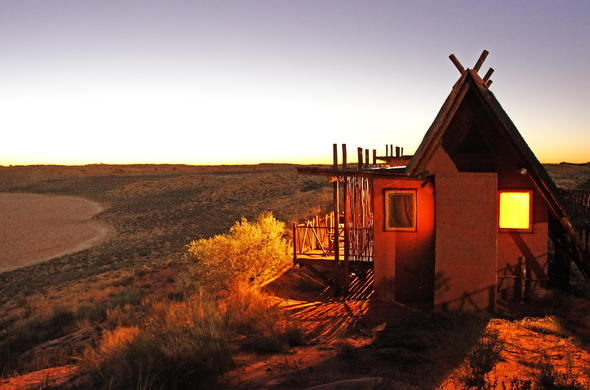 Exterior of Xaus Lodge in Kgalagadi Transfrontier National Park.